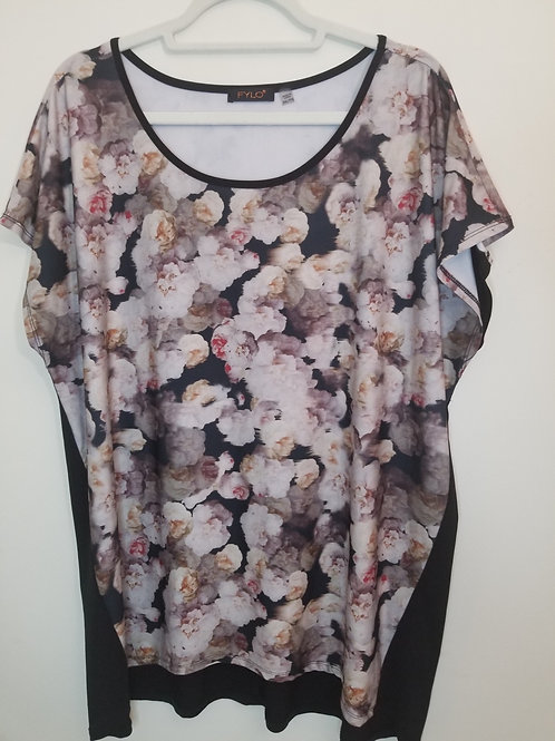 Floral short sleeved t-shirt with black back panel, size 1-2X