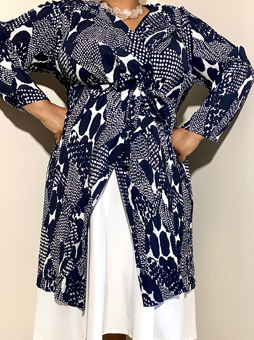 Gorgeous navy and white pleated satin wrap jacket by Chico's