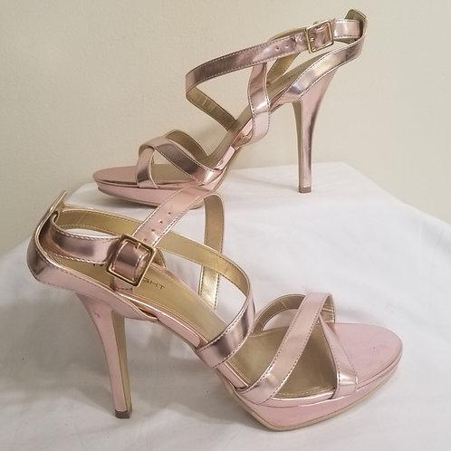 Pink cross strap stiletto sandal sz 11