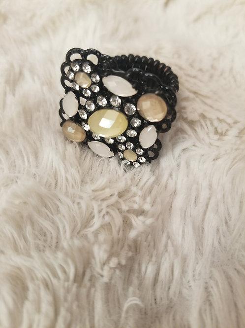 Beautiful black and jeweled rhinestone ring