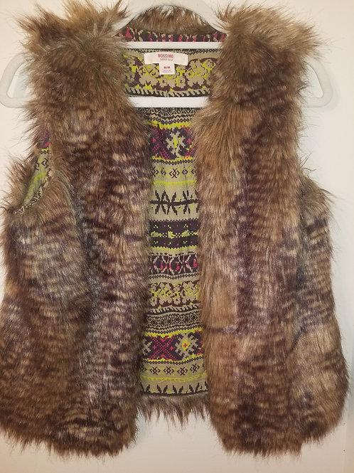 Tan faux fur vest with Knit lining size medium