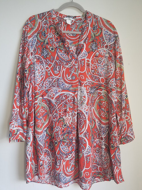 H&M red paisley long tunic top size small