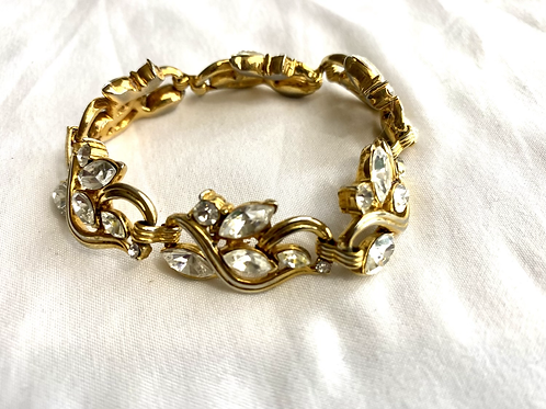 Beautiful simulated diamond and fashion gold bracelet