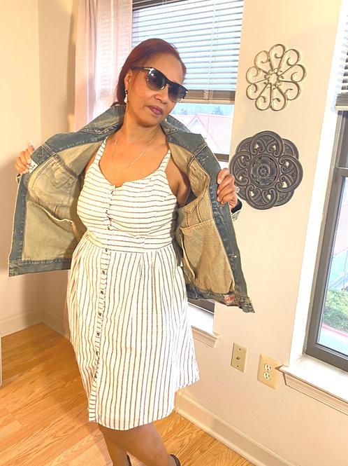 White striped cotton sleeveless dress. size XL
