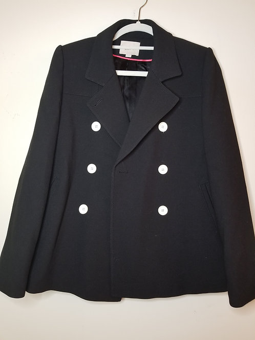 Black double breasted jacket with white buttons by Ann Taylor sz small
