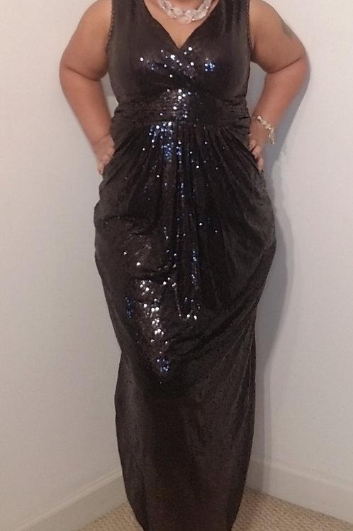 Full length black sequin gown sz 16