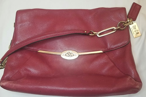 Authentic Red vintage Coach clutch with chain and leather handle. Pre-owned