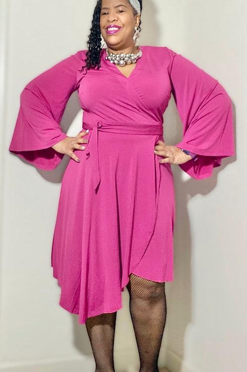 Eloquii pink Asymmetrical wrap dress