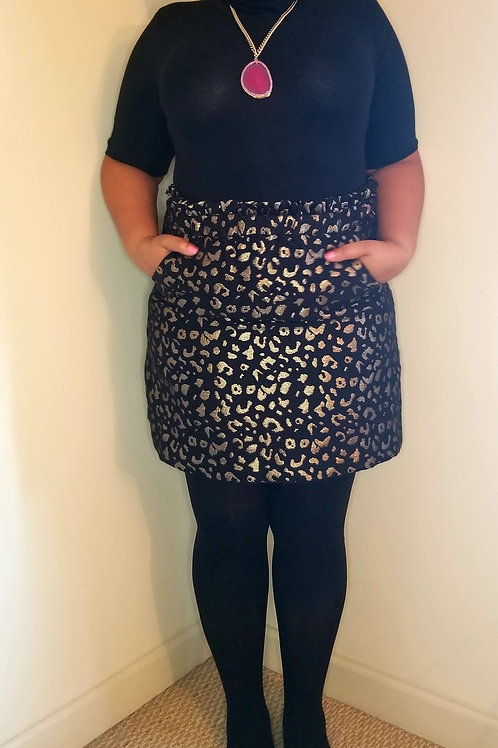Black and gold Eloquii skirt with pockets sz 16