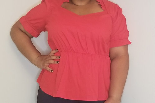 Red lightweight Fashion to Figure blouse with elastic waist sz 2
