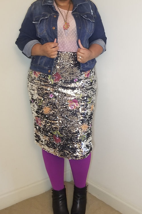 Eloquii Silver  Sequin Skirt with Floral design, sz 22