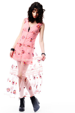 Pink Floral Dress with Lace