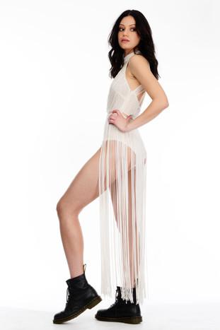 Ivory Bodysuit with Long Fringing