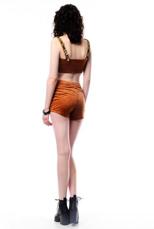 Brown Suede Crop with Button Details & Brown Suede Shorts