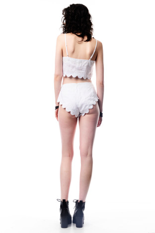 Scallop White Crop Top & Scallop Knickers