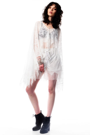 White Lace Poncho with Tassels & White Lace Shorts