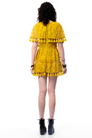 Yellow Layered Tassel Dress