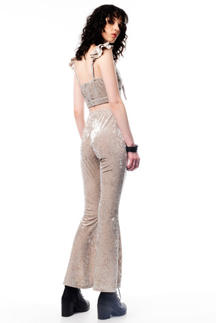 Beige Velvet Crop with Tie & Beige Velvet Pants