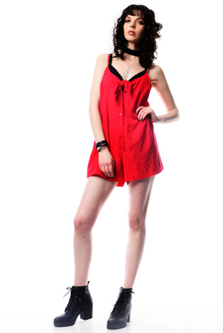 Red Playsuit with Tie Detail