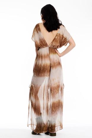 Brown Tie Dye V Neck Maxi Dress