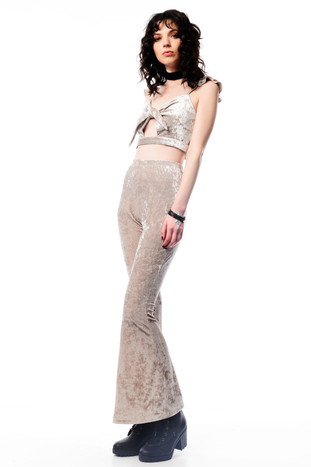 Beige Velvet Crop with Tie & Beige Velvet Pants