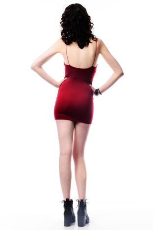 Dark Red Body Con Dress