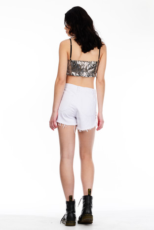 Silver Sequin Crop Top & White Shorts