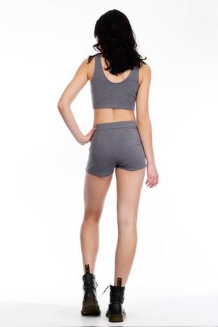 Grey Ribbed Crop Top & Grey Ribbed Shorts