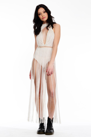 Ivory Bodysuit with Long Fringing