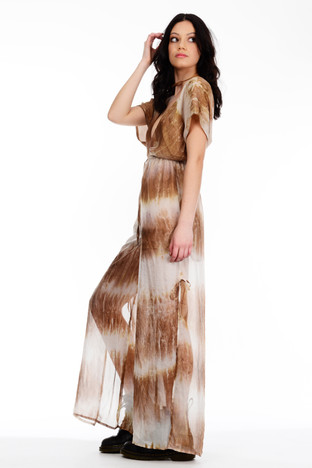 Brown Tie Dye V Neck Maxi Dress