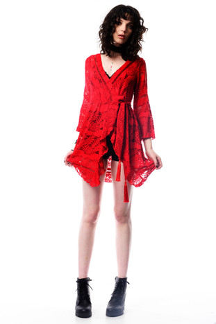 Red Tie Up Dress