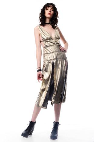 Gold Midi Dress with Big Splits