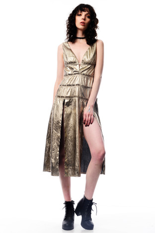 Gold Midi Dress with Big Splits