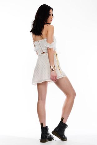 Quartz Crop Top & Gold Detailed Skirt