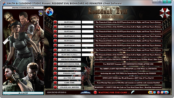 RESIDENT EVIL BIOHAZARD HD REMASTER Cheat Software (LIFE-TIME KEY)