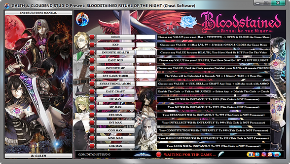 Bloodstained Ritual Of The Night, Cheats, Trainer, Mod, Codes, Script, Cheat Engine, Cheat Happens, Cheat Table, Fling, Wemod