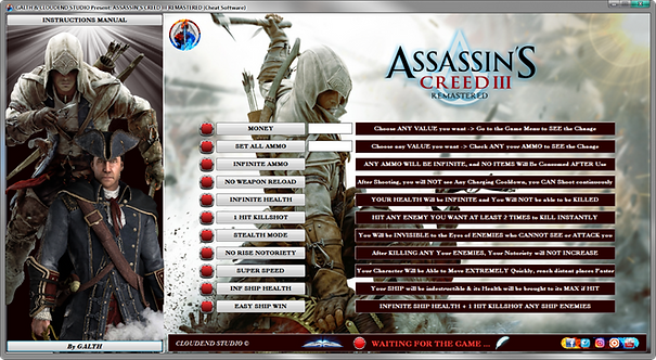 ASSASSIN'S CREED III + LIBERATION HD REMASTERED Double Cheat Software (LIFE-KEY)