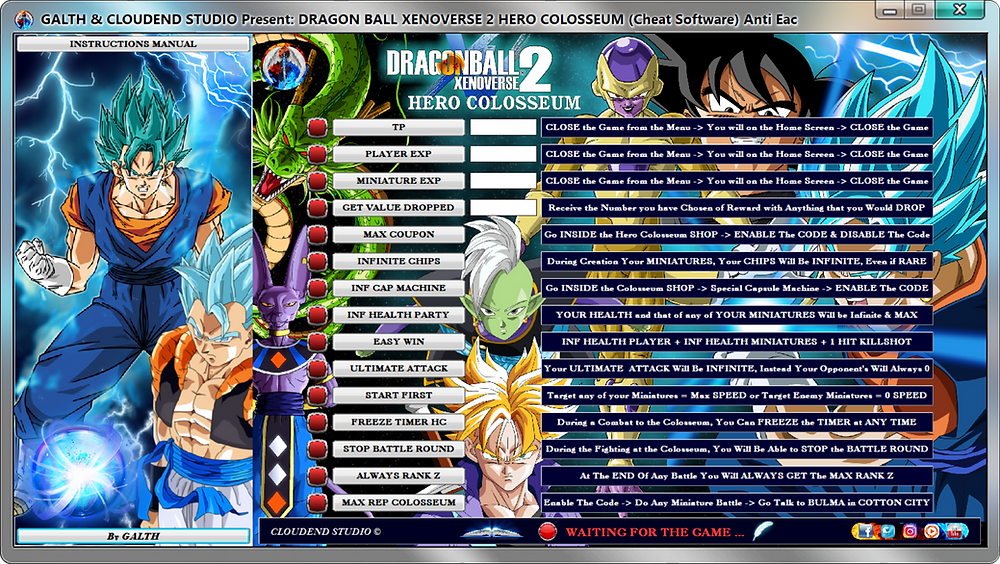 CLOUDEND STUDIO is happy to announce our new DRAGON BALL XENOVERSE 2 Cheat Software (Ver 1.14.00) DRAGON BALL XENOVERSE 2 HERO COLOSSEUM Cheat Software (Ver 1.14.00)  Compatibility with All Dlc + ULTRA PACK 2, Android 21, Ub,  YOUTUBE Demonstrative Video Dragon Ball Xenoverse 2: https://youtu.be/DI00SUtu0jg  WEBSITE: https://www.cheatcloudendstudio.com/  Do you want to maximize your gaming experience without frustrating Dead? You would like to avoid farming? You Want Drop Everything with a 100% of Rate?  DRAGON BALL XENOVERSE 2 STORY MODE... 1°) EXP 2°) ATTRIBUTE POINTS 3°) GOLD 4°) TP 5°) 1 HIT KILLSHOT 6°) INFINITE HEALTH 7°) INFINITE KI 8°) INFINITE STAMINA 9°) DROP EVERYTHING 10°) ALWAYS RANK Z 11°) INF SHENRON/ITEMS 12°) QQ BANGS PERFECT 13°) UNLOCKS ALL ITEMS 14°) MAX EXP COACH 15°) ALL MAX LVL  DRAGON BALL XENOVERSE 2 HERO COLOSSEUM MODE... 1°) TP 2°) PLAYER EXP 3°) MINIATURE EXP 4°) GET VALUE DROPPED 5°) MAX COUPON 6°) MAX EVERYTHING 7°) INF CAP MACHINE 8°) INF HEALTH PARTY 9°) EASY WIN 10°) ULTIMATE ATTACK 11°) START FIRST 12°) FREEZE TIMER HC 13°) STOP BATTLE ROUND 14°) ALWAYS RANK Z 15°) MAX REP COLOSSEUM  Our software can provide you with this and much more!  Would you like to complete the game several times with different PG?  You do not have much time to do it. Do you need a hand to complete your DRAGON BALL XENOVERSE 2?  Do not worry! our software is here for this. It will undoubtedly be a great help to complete your 100% game.  Remember All Update will be always FREE LIFE-TIME!  For Info or Buy contact us:  WEBSITE: https://www.cheatcloudendstudio.com/  FACEBOOK: https://www.facebook.com/cloudendstudio/  YOUTUBE: https://www.youtube.com/c/CLOUDENDSTUDIO  COCOSCOPE: https://www.cocoscope.com/cloudendstudio  INSTAGRAM: https://www.instagram.com/cloudendstudio/  TWITTER: https://twitter.com/CloudendStudio  E-MAIL: cloudend-studio@hotmail.com  And even on Ebay, do not miss our products!   ENJOY!   #DRAGONBALLXENOVERSE2 #DBX2 #DRAGONBALLFIGHTERZ #DRAGONBA