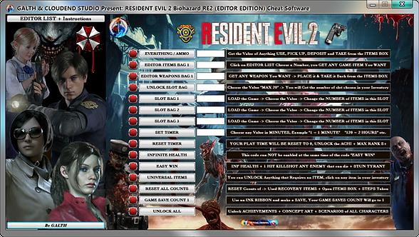 Resident Evil 2 Biohazard Re2, Resident Evil, Resident Evil 3, Re3, Cloudend Studio, Cheat Happens, Mega Dev, Fling Trainer,