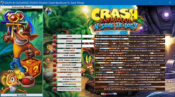 CRASH BANDICOOT N. SANE TRILOGY Cheat Software (LIFE-TIME KEY)