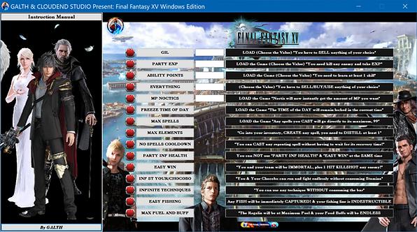 FINAL FANTASY XV WINDOWS EDITION Cheat Software (LIFE-TIME KEY)