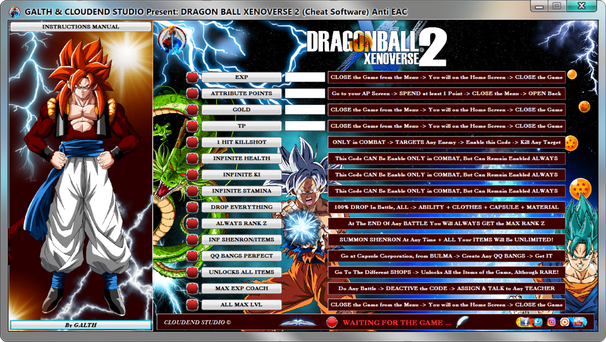 DRAGON BALL XENOVERSE 2 Cheat Software (Ver 1 13 00) + ANTI EAC SYSTEM