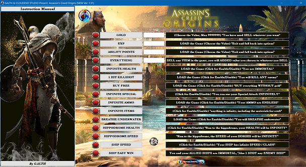 ASSASSIN'S CREED ORIGINS Cheat Software (LIFE-TIME KEY)