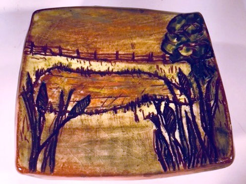 "Ring Dish ""Cattails and Pond"""