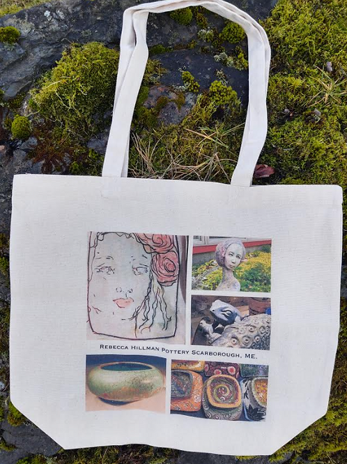 """Tote #5 """"Blue Frog Collage"""""""