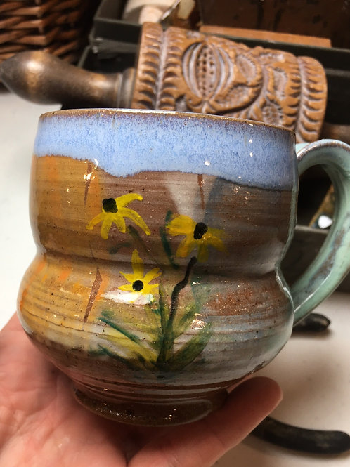 Mug with Black Eyed Susans and Celadon Handle