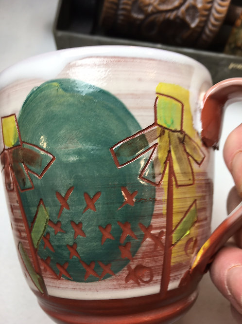 Earthenware Mug w/ Five Flowers and Color Block