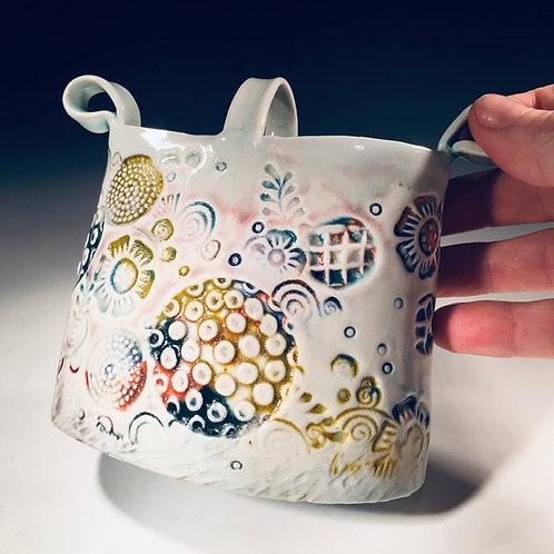 Stamped Porcelain Oval Vase