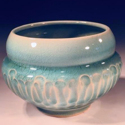 Tea Bowl (Teal Textured) Stoneware Wood Fired