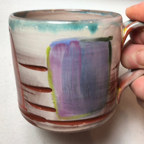 Carved Earthenware Mug Geometric w/ Color Squares Blue Drip
